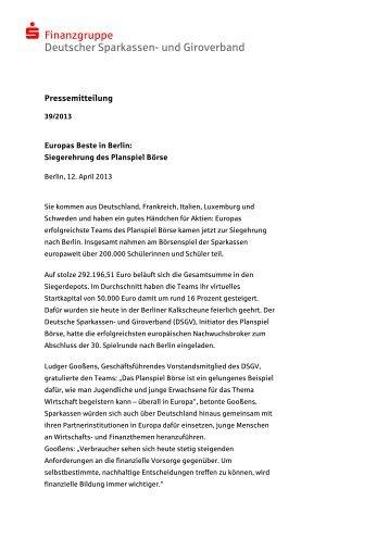  Finanzgruppe Deutscher Sparkassen- und ... - Planspiel Börse
