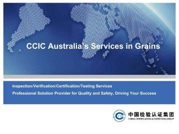 CCIC Australia's Services in Grains