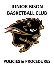 Junior Bison Basketball Club Policies and Procedures Manual
