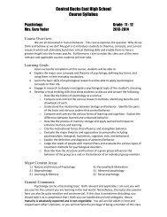 Psychology syllabus - Central Bucks School District