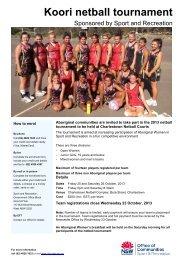 Koori netball tournament - NSW Sport and Recreation