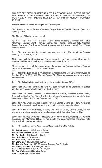 MINUTES OF A REGULAR MEETING OF THE ... - City of Fort Pierce