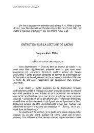 lecture Lacan - École de la cause freudienne