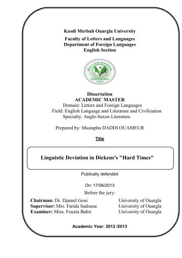 """Linguistic Deviation in Dickens's """"Hard Times"""""""