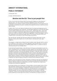AMNESTY INTERNATIONAL PUBLIC STATEMENT Ukraine and the ...