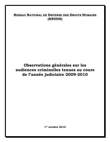Observations générales sur les audiences criminelles tenues au ...