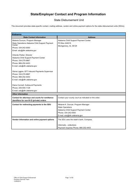 State/Employer Contact and Program Information