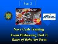 From Disbursing Unit 2: Rules of Behavior form Navy Cash Training ...