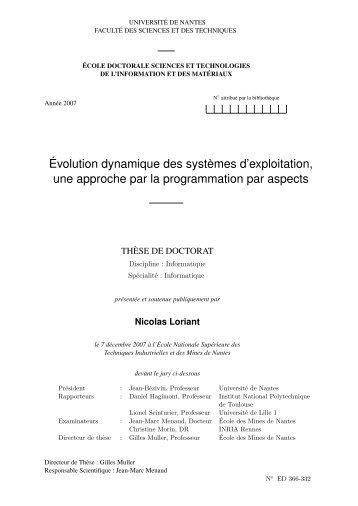 Évolution dynamique des systèmes d'exploitation, une approche par ...