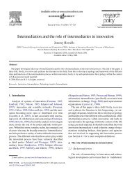 Intermediation and the role of intermediaries in innovation
