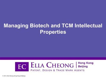 Can Biotech/TCM Inventions be Patented? - BIP Asia Forum