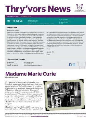 Madame Marie Curie - Thyroid Cancer Canada