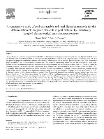 A comparative study of acid-extractable and total digestion methods ...