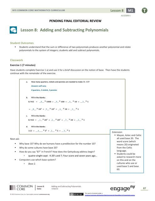 Lesson 8: Adding and Subtracting Polynomials