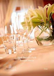 Hyatt Regency Perth Banquet Menus