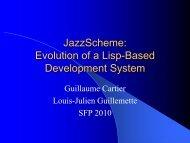 JazzScheme: Evolution of a Lisp-Based Development System