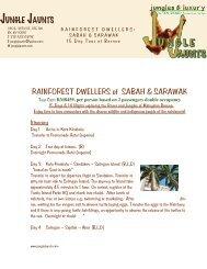 RAINFOREST DWELLERS of SABAH & SARAWAK JUNGLE JAUNTS