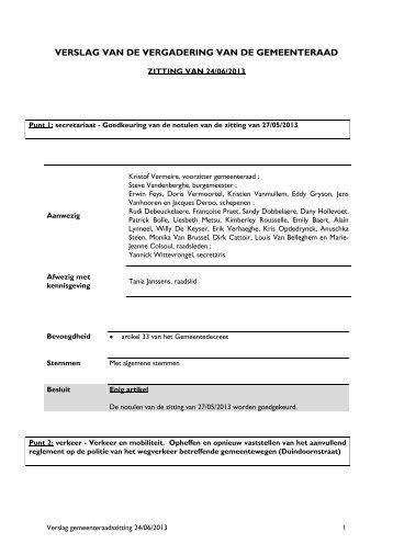Sjabloon gemeenteraadsverslag - Gemeente Bredene