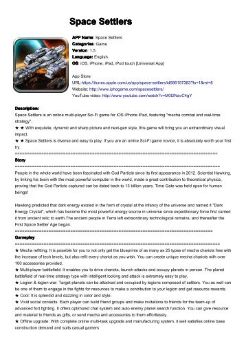 Space Settlers Press Kit - iPhone Game