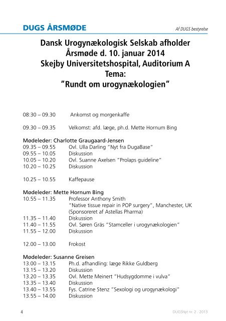 DUGSNyt nr.2 /2013 - Dansk Urogynækologisk Selskab