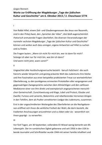 Worte zur Eröffnung von Jürgen Rennert - Kulturhauptstadt werden