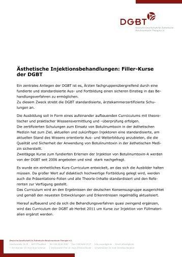 Ästhetische Injektionsbehandlungen: Filler-Kurse der DGBT