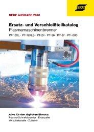 Ersatz- und Verschleißteilübersicht PT- 19XLS - ESAB