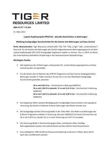 Lupoto-Kupferprojekt (PR2214) - aktuelle ... - GOLDINVEST.de