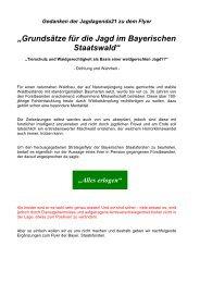"""""""Grundsätze für die Jagd im Bayerischen Staatswald"""""""