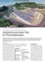 Autobahntunnels bieten Platz für Photovoltaikanlagen - BE Netz AG