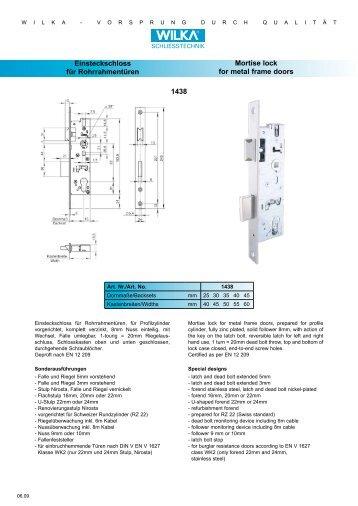 Einsteckschloss für Rohrrahmentüren Mortise lock for metal ... - Market