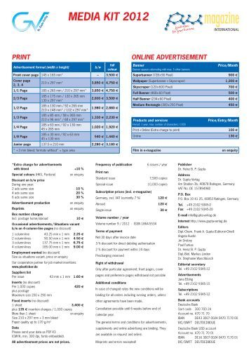 media kit 2012 print online advertisement - Dr. Gupta Verlag