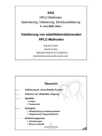 Validierung von stabilitätsindizierenden HPLC-Methoden