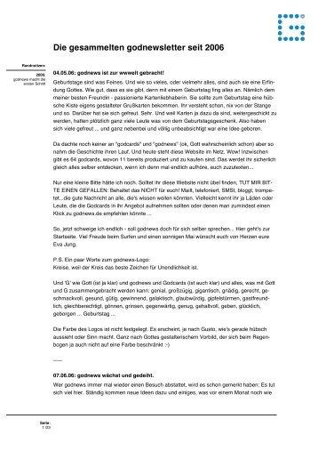 Das godnewsletterarchiv von 2006 bis heute (pdf) - GodNews.de