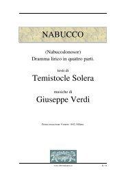 NABUCCO Temistocle Solera Giuseppe Verdi - Fulmini e Saette