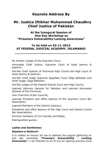 Keynote Address By Mr. Justice Iftikhar Muhammad Chaudhry Chief ...