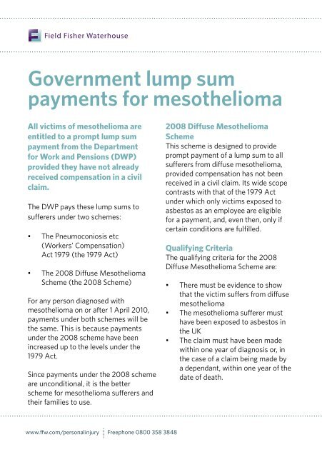 Government Lump Sum Payments For Mesothelioma