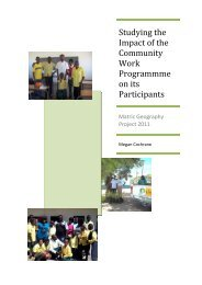 Impact of the CWP on its participants – Matric geography ... - tips