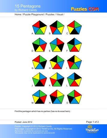 15 Pentagons - Puzzles.COM