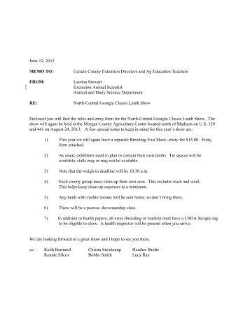 June 12, 2013 MEMO TO: Certain County Extension ... - Georgia 4-H