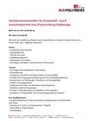 Verfahrensmechaniker für Kunststoff- und K autschuktechnik ... - Inkom