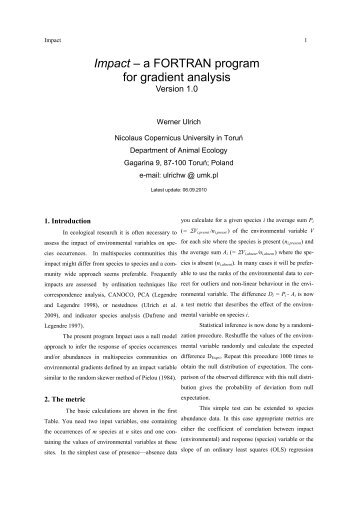 Impact – a FORTRAN program for gradient analysis