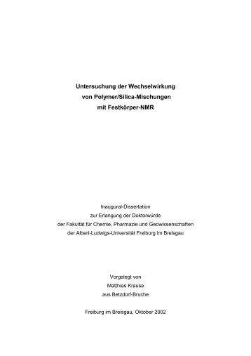 Untersuchung der Wechselwirkung von Polymer/Silica-Mischungen ...