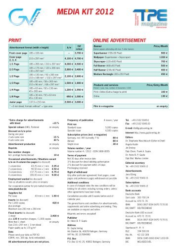 media kit 2012 print online advertisement - Dr. Gupta Verlag