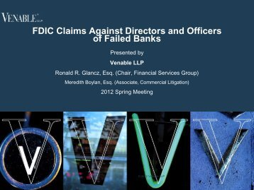 FDIC Claims Against Directors and Officers of Failed ... - Venable LLP