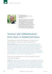 Drum dryers or fluidized bed dryers Trommel- oder Fließbetttrockner