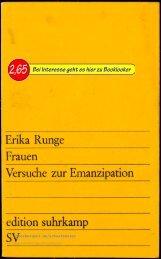 Erika Runge Frauen - Versuche zur Emanzipation