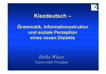 Kiezdeutsch als Dialekt - StuTS in Potsdam