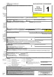 Antrag auf Erteilung eines Patents