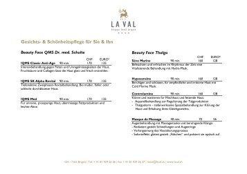 Preisliste Schönheitspflege (PDF) - HOTEL - La Val